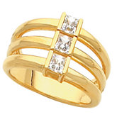 3-Stone Multi-Row Band for Square or Princess-Cut Stones