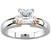 14K White & Rose Gold Engagement Ring Mounting