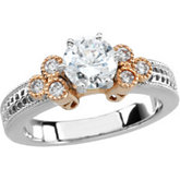 14K White & Rose Gold Engagement Base Ring Mounting