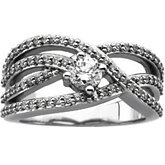 Round Accented Criss-Cross Ring Mounting