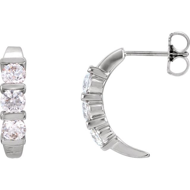 14K White 1 CTW Diamond J-Hoop Earrings