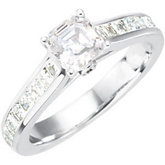 Asscher Cut Solitaire Engagement Ring or Band