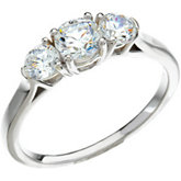 Three-Stone Semi-mount Engagement Ring