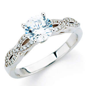 Diamond Infinity-Inspired Engagement Ring, Semi-Mount or Band