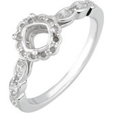 Accented Engagement Ring or Band Mounting