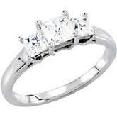 3-Stone Princess Engagement Mounting Or Matching Band