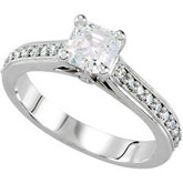 Cathedral-Style Engagement Ring Mounting with Accent
