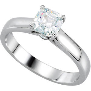 Cathedral-Style Solitaire Engagement Ring Mounting with Accent