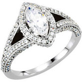 Halo-Style Split Shank Engagement Ring Mounting