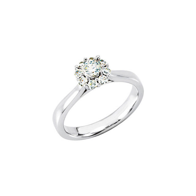 14K White 1/3 CTW Diamond Halo-Style Cluster Engagement Ring