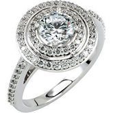 Semi-Mount Round Entourage Engagement Ring or Band