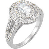 Oval Entourage Split Shank Engagement Ring Mounting
