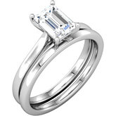 Emerald Cut Solitaire Engagement Ring Mounting