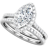 Halo-Style Marquise Shaped Engagement Ring Mounting