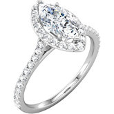 Halo-Styled Marquise Shape Engagement Ring Mounting
