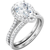 Halo-Style Pear Shaped Engagement Ring Mounting