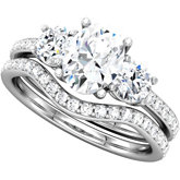 3-Stone Oval & Round Engagement Ring Mounting
