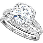 Halo-Style Split Shank Engagement Ring or Matching Band