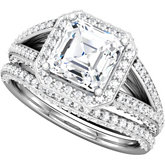 Asscher Shape Engagement Mounting or Matching Band
