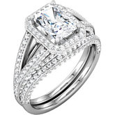 Radiant Split Shank Engagement Ring Mounting