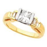 Engagement Ring Mounting with Baguette Accents or Band