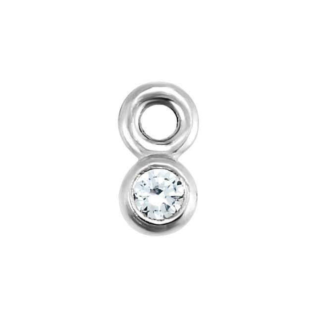 14K White .015 CTW Diamond Micro Bezel Dangle