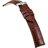 22mm Men's Long Brown Select Matte Alligator Embossed Leather Watch Strap