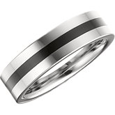 6.3mm Dura Tungsten® Flat Band with Black Enamel Inlay