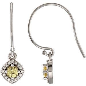14kt White Halo-Styled<br> Sapphire Dangle Earrings
