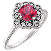 Chatham® Created Ruby & Diamond Halo-Style Ring or Mounting