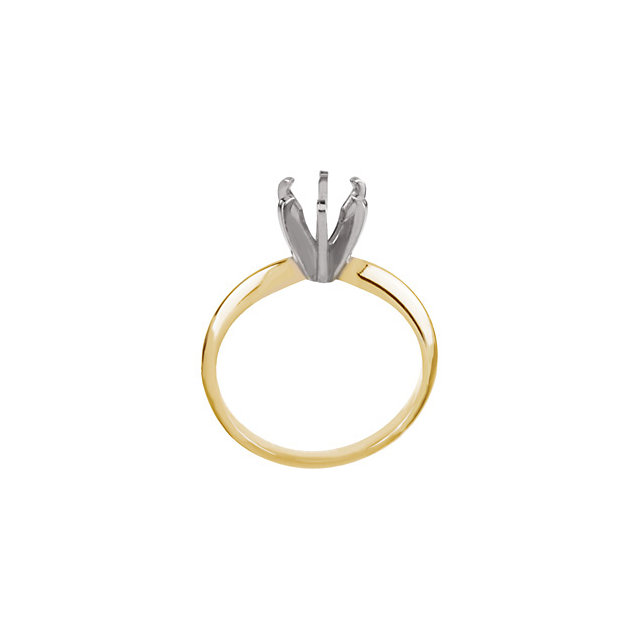 14K Yellow & White 5.4-5.7mm Round Pre-Notched 6-Prong Solitaire Ring Mounting