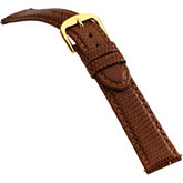18mm Men's Long Genuine Lizard-Grain Honey Watch Strap
