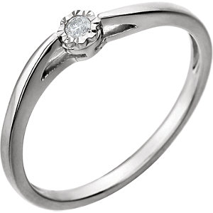 Sterling Silver .04 CTW Diamond Promise Ring Size 7 Ref 650895