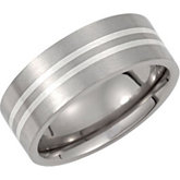 Titanium Band with Sterling Silver Inlay