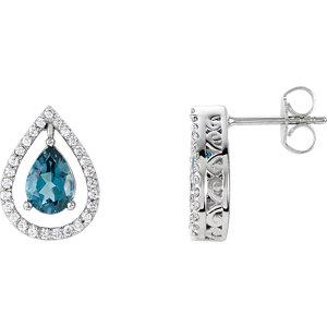 London Blue Topaz & 1/3 CTW Diamond Earrings