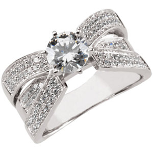 Sterling Silver Cubic Zirconia & 1/2 CTW Diamond Engagement Ring