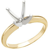 Princess/Square 4-Prong Heavy Solitaire Ring Mounting