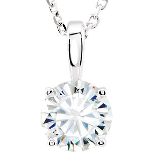 Created Moissanite Round 4-Prong Solitaire Necklace