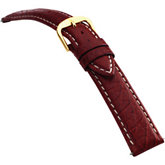 20mm Men's Long Calf Padded w/Heavy Crème Stitching Red Watch Strap