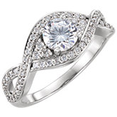 Diamond Semi-mount Pave Twist Engagement Ring or Mounting