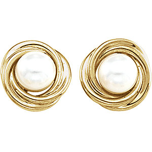 Akoya Aultured Pearl Knot<br> Earrings