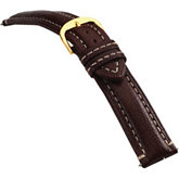 20mm Men's Long Finished Leather Heavy Padded Crème Stitching Matte Brown Watch Strap