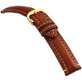 20mm Men's Long Finished Leather Heavy Padded Crème Stitching Matte Tan Watch Strap