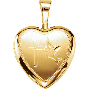 Gold Plated & Sterling Silver Cross/Dove Heart Locket