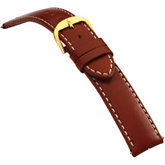24mm Men's Long Finished Leather Heavy Padded Crème Stitching Glazed Tan Watch Strap