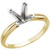 Square/Princess V-Prong 4-Prong Solitaire Ring Mounting