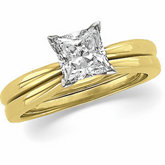 4-Prong Solitaire Ring for Princess-Cut Gemstone