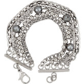 Amalfi™ Stainless Steel Multiple Chain Bracelet with Hematite