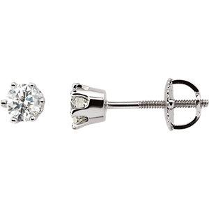 14K White 1/2 CTW Diamond Threaded Post Stud Earrings