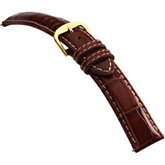 18mm Men's Long Alligator Grain Heavy Padded Crème Stitching Tan Watch Strap